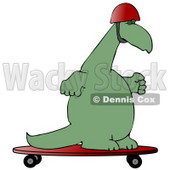 Green Dino Skateboarding and Wearing a Helmet Clipart Illustration © Dennis Cox #13469