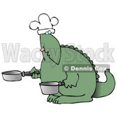 Green Dino in a Chefs Hat, Cooking With a Pan and Pot Clipart Illustration © Dennis Cox #13472