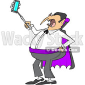 Clipart of a Cartoon Chubby Halloween Dracula Vampire Taking a Selfie with a Cell Phone - Royalty Free Vector Illustration © djart #1347285