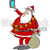 Clipart of a Cartoon Christmas Santa Claus Taking a Selfie with a Cell Phone - Royalty Free Vector Illustration © djart #1347287