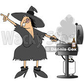 Clipart of a Cartoon Chubby Halloween Witch Grilling on a Bbq - Royalty Free Illustration © djart #1347288