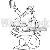 Outline Clipart of a Cartoon Black and White Christmas Santa Claus Taking a Selfie with a Cell Phone - Royalty Free Lineart Vector Illustration © djart #1347292