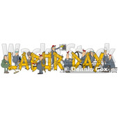Clipart of Cartoon Chubby White Male and Female Workers Building LABOR DAY Text - Royalty Free Illustration © Dennis Cox #1347294