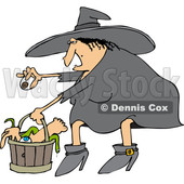 Clipart of a Cartoon Chubby Warty Halloween Witch Puting an Eyeball in a Basket of Body Parts and Snakes - Royalty Free Vector Illustration © djart #1347297