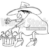 Outline Clipart of a Cartoon Black and White Chubby Warty Halloween Witch Puting an Eyeball in a Basket of Body Parts and Snakes - Royalty Free Lineart Vector Illustration © djart #1347298
