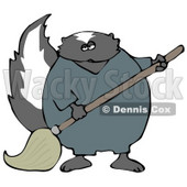 Working Skunk in Coveralls, Mopping up a Mess on a Floor Clipart Illustration © Dennis Cox #13473