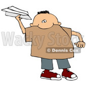 Mischievous Little Boy Throwing a Paper Airplane Clipart Illustration © djart #13475