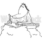 Outline Clipart of a Cartoon Black and White Chubby Cave Woman Writing on a Boulder - Royalty Free Lineart Vector Illustration © djart #1349228