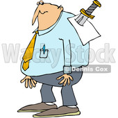 Clipart of a Cartoon Chubby Caucasian Businessman with a Knife in His Back - Royalty Free Vector Illustration © djart #1349502
