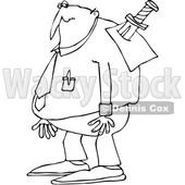 Outline Clipart of a Cartoon Black and White Chubby Businessman with a Knife in His Back - Royalty Free Lineart Vector Illustration © djart #1349503