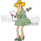 Clipart of a Cartoon Caucasian Business Woman with a Knife in Her Back - Royalty Free Vector Illustration © djart #1349504