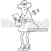 Outline Clipart of a Cartoon Black and White Business Woman with a Knife in Her Back - Royalty Free Lineart Vector Illustration © Dennis Cox #1349505