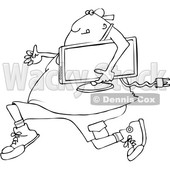 Outline Clipart of a Cartoon Black and White Chubby Juvenile Deliquent Man Looting and Running with a Stolen Television - Royalty Free Lineart Vector Illustration © djart #1352133