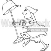 Outline Clipart of a Cartoon Black and White White Woman Looting and Running with a Stolen Lamp - Royalty Free Lineart Vector Illustration © djart #1352134