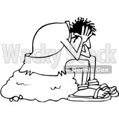 Outline Clipart of a Cartoon Black and White Stressed Caveman Sitting on a Boulder and Resting His Head in His Hands - Royalty Free Lineart Vector Illustration © djart #1352135