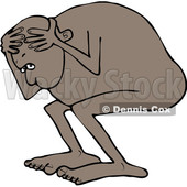 Clipart of a Cartoon Black Man Cowering, Scared and Naked - Royalty Free Vector Illustration © djart #1352139