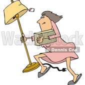 Clipart of a Cartoon White Woman Looting and Running with a Stolen Lamp - Royalty Free Vector Illustration © djart #1352142