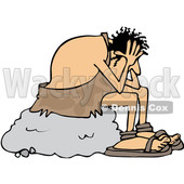 Clipart of a Cartoon Stressed Caveman Sitting on a Boulder and Resting His Head in His Hands - Royalty Free Vector Illustration © djart #1352143