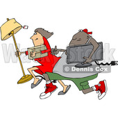 Clipart of a Cartoon Chubby Black Juvenile Deliquent Man and White Woman Looting and Running with Stolen Items - Royalty Free Vector Illustration © Dennis Cox #1353044