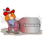 Clipart of a Rodeo Clown Climbing out of a Barrel - Royalty Free Illustration © Dennis Cox #1353045