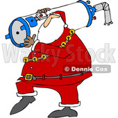 Clipart of a Cartoon Christmas Santa Carrying a Water Heater - Royalty Free Vector Illustration © Dennis Cox #1353046