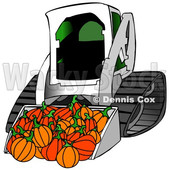 Clipart of a Bobcat Skid Steer Loader with Halloween Pumpkins in the Bucket - Royalty Free Illustration © Dennis Cox #1353048