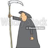 Clipart of a Cartoon Hooded White Grim Reaper Man with a Scythe - Royalty Free Vector Illustration © Dennis Cox #1354945