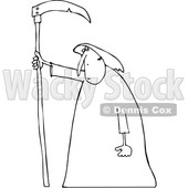 Outline Clipart of a Cartoon Black and White Hooded Grim Reaper Man with a Scythe - Royalty Free Lineart Vector Illustration © djart #1354946