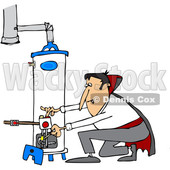 Clipart of a Cartoon Vampire Lighting a Water Heater Pilot - Royalty Free Vector Illustration © djart #1354947