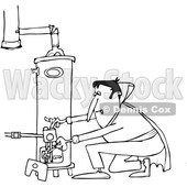 Outline Clipart of a Cartoon Black and White Vampire Lighting a Water Heater Pilot - Royalty Free Lineart Vector Illustration © djart #1354948