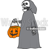 Clipart of a Cartoon Halloween Skeleton Wearing a Hood and Carrying a Pumpkin Basket - Royalty Free Vector Illustration © djart #1355258
