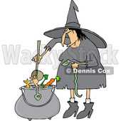 Clipart of a Cartoon Fat Warty Halloween Witch Adding a Snake into Her Brew - Royalty Free Vector Illustration © djart #1355259