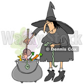 Clipart of a Cartoon Halloween Witch Adding a Snake into Her Brew - Royalty Free Illustration © Dennis Cox #1355260