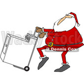 Clipart of a Cartoon Christmas Santa Claus Pushing a Dryer on a Hand Truck Dolly - Royalty Free Vector Illustration © djart #1355262