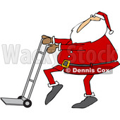 Clipart of a Cartoon Christmas Santa Claus Pushing a Hand Truck Dolly - Royalty Free Vector Illustration © djart #1355263