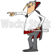 Clipart of a Cartoon Angry Vampire Pointing to the Left - Royalty Free Vector Illustration © djart #1355264