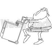 Outline Clipart of a Cartoon Black and White Christmas Santa Claus Pushing a Dryer on a Hand Truck Dolly - Royalty Free Lineart Vector Illustration © djart #1355265