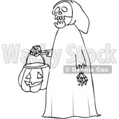 Outline Clipart of a Cartoon Black and White Halloween Skeleton Wearing a Hood and Carrying a Pumpkin Basket - Royalty Free Lineart Vector Illustration © djart #1355266