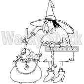 Outline Clipart of a Cartoon Black and White Halloween Witch Adding a Snake into Her Brew - Royalty Free Lineart Vector Illustration © djart #1355267