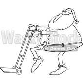 Outline Clipart of a Cartoon Black and White Christmas Santa Claus Pushing a Hand Truck Dolly - Royalty Free Lineart Vector Illustration © djart #1355269