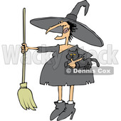 Clipart of a Cartoon Chubby Warty Halloween Witch Holding a Broom and Cat - Royalty Free Vector Illustration © Dennis Cox #1355325