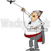 Clipart of a Cartoon Chubby Dracula Vampire Flying a Bat - Royalty Free Vector Illustration © Dennis Cox #1355576