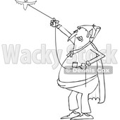 Outline Clipart of a Cartoon Black and White Chubby Dracula Vampire Flying a Bat - Royalty Free Lineart Vector Illustration © djart #1355577