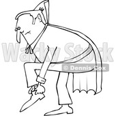 Outline Clipart of a Cartoon Black and White Chubby Dracula Vampire Putting His Shoes on - Royalty Free Lineart Vector Illustration © Dennis Cox #1355579