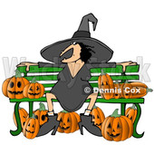 Clipart of a Cartoon Chubby Warty Halloween Witch Sitting on a Bench Surrounded by Jackolantern Pumpkins - Royalty Free Illustration © djart #1355580