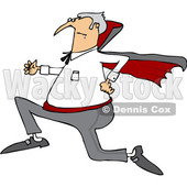 Clipart of a Cartoon Chubby Halloween Dracula Vampire Running - Royalty Free Vector Illustration © djart #1355582