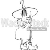 Outline Clipart of a Cartoon Black and White Chubby Halloween Witch Standing with a Broom - Royalty Free Lineart Vector Illustration © djart #1355585