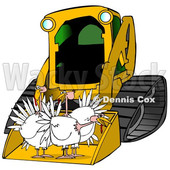 Clipart of a Yellow Bobcat Skid Steer Loader with Turkeys in the Bucket - Royalty Free Illustration © djart #1356455