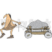 Clipart of a Cartoon Caveman Pulling a Boulder on a Cart - Royalty Free Vector Illustration © djart #1356458