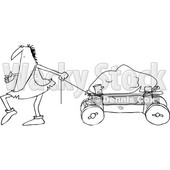 Outline Clipart of a Cartoon Black and White Caveman Pulling a Boulder on a Cart - Royalty Free Lineart Vector Illustration © Dennis Cox #1356459